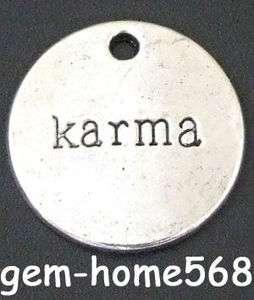 20 Tibetan Silver karma Word Round Charms C043