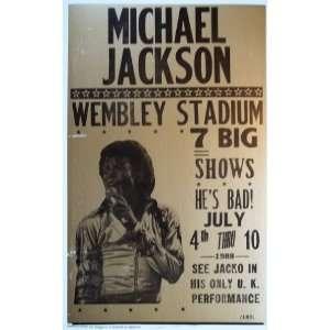 Michael Jackson Concert Wembley Stadium 1988 Poster