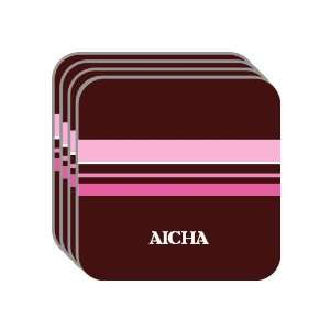 Personal Name Gift   AICHA Set of 4 Mini Mousepad Coasters (pink