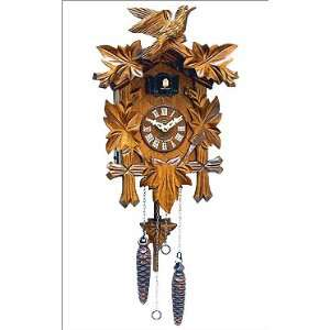 Black Forest   German Cuckoo Clock With Leafs And Bird