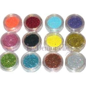 12 Color Glitter Sparkle Powder Nail Art Makeup Body Painting Beauty