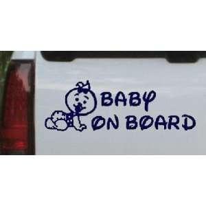 Navy 56in X 19.5in    Baby On Board (Girl) Car Window Wall