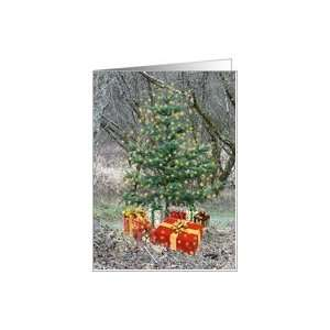 Sparkly Look Christmas Tree with Presents Card Health
