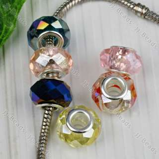 20Pcs Mix Color AB Faceted Crystal Glass Big Hole Beads