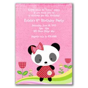 Panda Bear Invitations Birthday Party Zoo Girls Shower