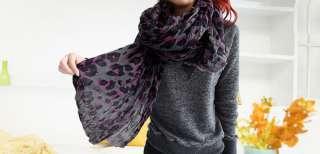 Women Wrinkle Leopard Print Gray Rectangle Scarf Shawl