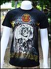 New Sale Black Man T Shirt Ghost Blue Foil Rock Tattoo Biker Punk Rock