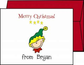 Personalized CHRISTMAS HOLIDAY Stick Figure Note Cards