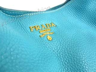 PRADA Sacca Vitello Daino Voyage Blue Leather Tote Shoulder Bag NEW