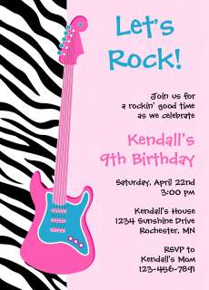 ZEBRA PRINT ROCK STAR Birthday Invitations & Labels