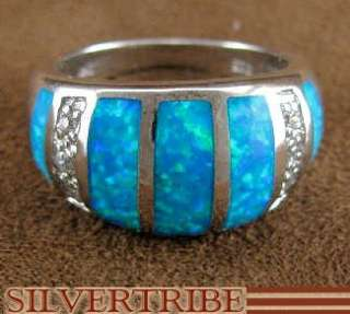 Created Blue Opal Inlay Sterling Silver Ring Size 6 1/4