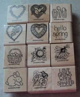 Stampin Up Rubber Stamp Sets Love Grows   Hearts 4 You   Hello Spring