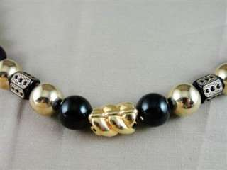 Great Vtg Arthur David Chunky Black & Gold Bead Necklace
