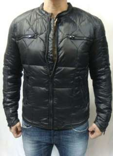 NWT DIESEL Mens Black Leather Trim, Biker JAMISON Nylon Down Puffer