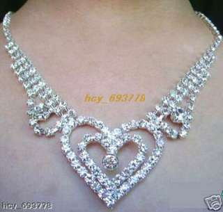 Noble Prom/Bridal Heart Crystal Rhinestone Necklace Set