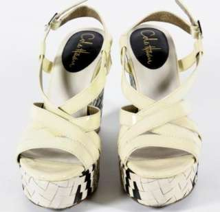Cole Haan Ivory Patent Leather Chunky Wedge Sandals Woven Heel 7 B