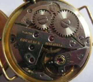 ladies 18 ct solid gold cased bucherer wrist watch