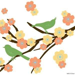 Bird Cherry Blossoms Wall Sticker Decal for boys/girls