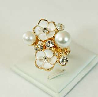 r6227 White Visual Big Floral Gold plating Diamante CZ Adjustable