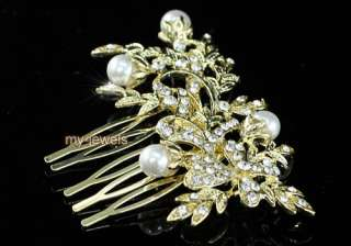 Wedding Flower Faux Pearl Gold Plated Hair Comb T1352