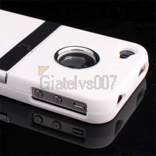 WHITE DELUXE HARD CASE COVER WITH CHROME STAND RUBBERIZED CLIP IPHONE