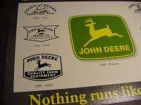 VINTAGE JOHN DEERE LOGO HISTORY METAL TIN SIGN art deer 1800s 1900s