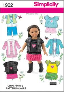 SIMPLICITY #1902 18 AMERICAN GIRL DOLL CLOTHES SEWING PATTERN COAT