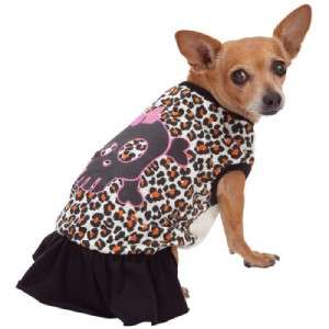 Girl Dog LEOPARD CHEETAH SKULL Ruffle DRESS Pet Puppy Chihuahua