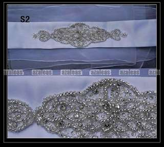NEW Beaded Crystal Ivory/White Satin Wedding Bridal Dress Belt Sash
