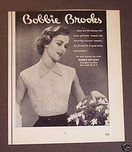 1953 Bobbie Brooks Womens Blouses Shirts vintage ad