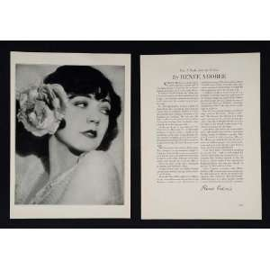 1930 Renee Adoree Silent Film Star Moving Picture Print
