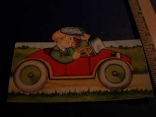 Antique Vintage Old Charming Fold Up Valentine Card Boy Girl Car