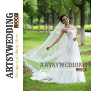 1T White/Ivory Wedding Bridal Veil Long Cathedral Trail Embroidery