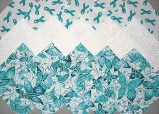 OVARIAN CANCER Ribbons & Butterflies Fabric Squares