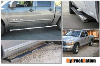 2002 2008 Dodge Ram 1500 Quad Cab 4 Stainless Oval Nerf Bars Running