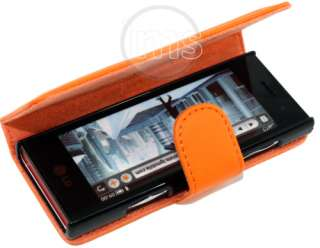 London Magic Store   LG CHOCOLATE BL40 ORANGE LEATHER WALLET CASE II