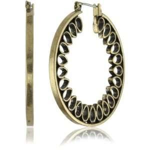 Lucky Brand Scroll Gold Tone Tear Drop Inlay Hoop Earrings