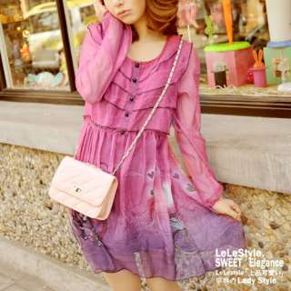 New Korea Womens Cute Red Fairytale Chiffon Dress