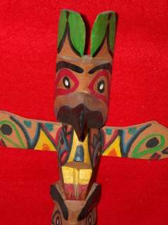 NATIVE AMERICAN Big TOTEM POLE, CHIEF WHITE EAGLE Indian Carved Wood