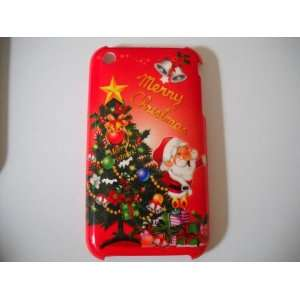 Christmas Tree & Santa Claus Designed Hard Case (Red) for