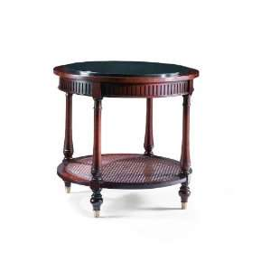 Round End Table w/ Black Granite Top and Cane Shelf by