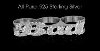 New Womens Sterling Silver Three Finger Knuckle Ring