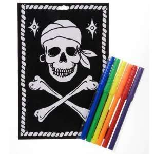 : Pirate Skull and Crossbones Velvet Art Activity Kit Party Supplies