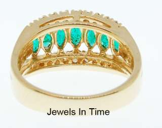 14K Yellow Gold Ladies Ring With Diamonds And Emeralds