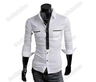 2012 Korea Mens Slim fit False Tie Stylish Long Sleeve Shirts Luxury