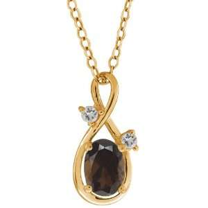 83 Ct Oval Brown Smoky Quartz and White Topaz 18k Yellow Gold Pendant