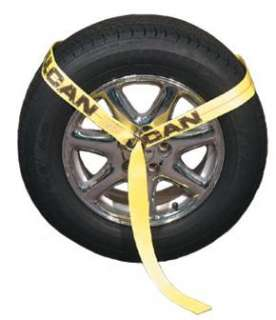 Car Trailer Tie Down Strap Set, (4) Ratchet Wheel tire