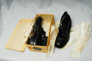 VTG 40s 50s NOS Kidskin Kangaroo Cap Toe Low Top Boots Shoes Black