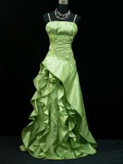 Cherlone Plus Size Satin Green Long Prom Ball Gown Wedding/Evening