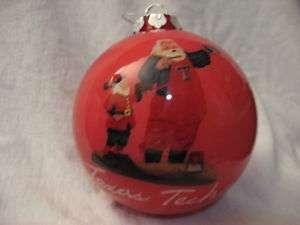 Texas Tech Hand Painted Glass Christmas Ornament NIB